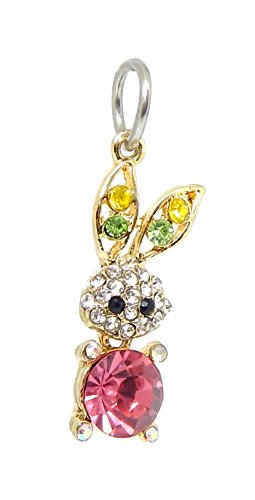 J&M Dangle Rabbit Bunny with Crystals Charm Bead for Charms Bracelets -