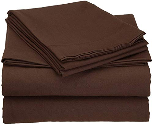 Short Queen Size Bed Sheets Set 400-Thread-Count 100% Cotton Ultra Soft Breathable & Cozy Bedding Sheets 4-Piece - Short Queen, Chocolate Solid