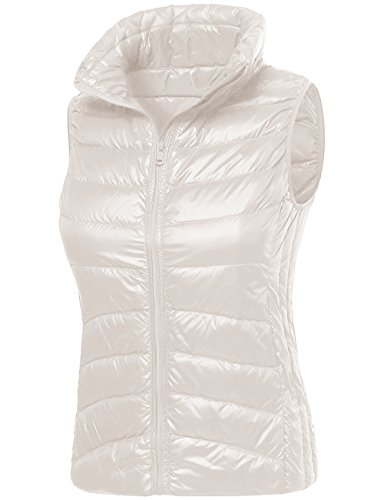 Timeless Down Vest - DOUBLDO Womens Ultra Lightweight Goose Down Filled Cozy Puffer Vest-M-IVORY
