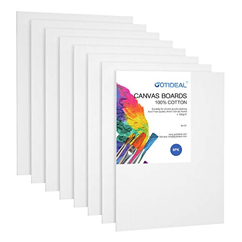 GOTIDEAL Canvas Panels 9×12″ inch Set of 8,Professional Primed White Blank- 100% Cotton Artist Canvas Boards for Painting, Acrylic Paint, Oil Paint Dry & Wet Art Media