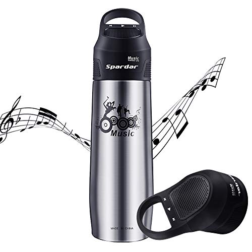 Spardar 2 in 1 Portable Bluetooth Speaker Water Bottle Stainless Steel 304 Vacuum Insulated Outdoor Water Thermos Speaker Built-in 800mAh Rechargeable Hot/Cold Cup Mug 750mL (Black)