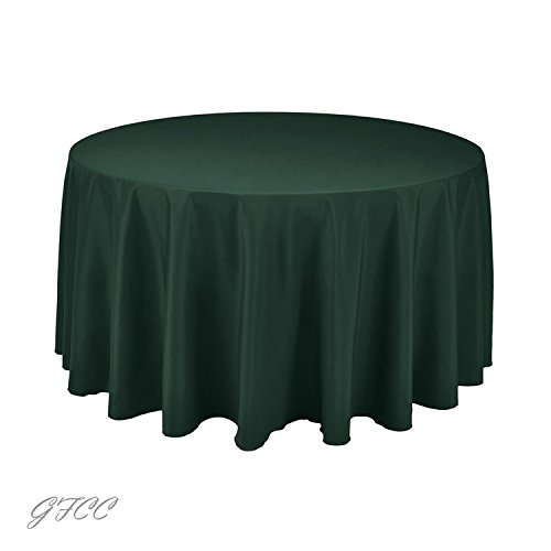 GFCC 100% Polyester Round Polyester Tablecloth for Wedding,Party and Banquet(96-Inch,Hunter Green) ()