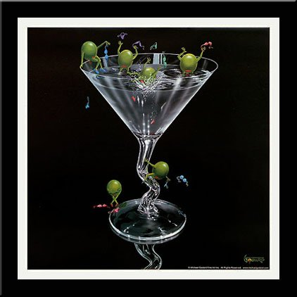 - 'OLIVES GONE WILD' Martini art FRAMED/MATTED - Michael Godard 18x18