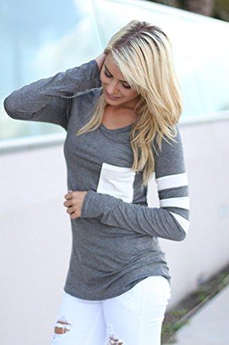 Manches Longues Coton Femme En T Col Chemise Gris Acvip Taille Blouse Unique shirt Tops Rond atEqc