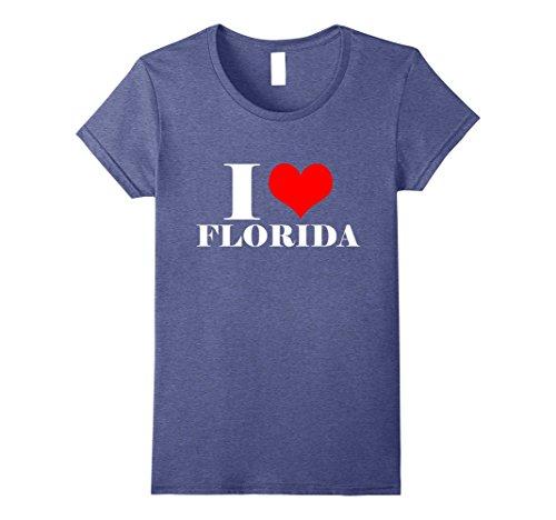 Womens I Love Florida T Shirt , I Heart Florida Tee USA Shirt Medium Heather Blue