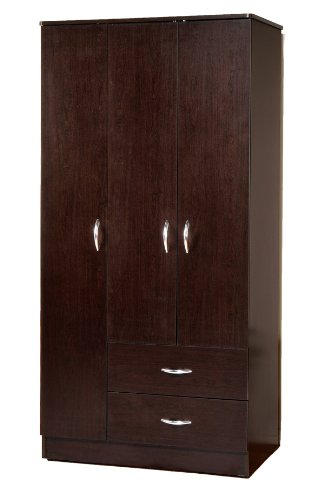 Wardrobe Bedroom Armoire With 3 Doors And 2 Drawers In Espresso Finish
