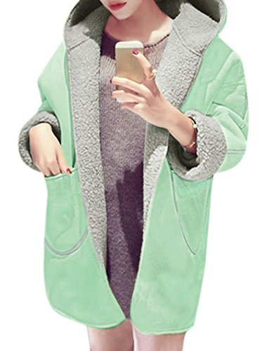 sourcingmap Mujer Holgado Con capucha Plush Forrado Túnica Abrigo Verde