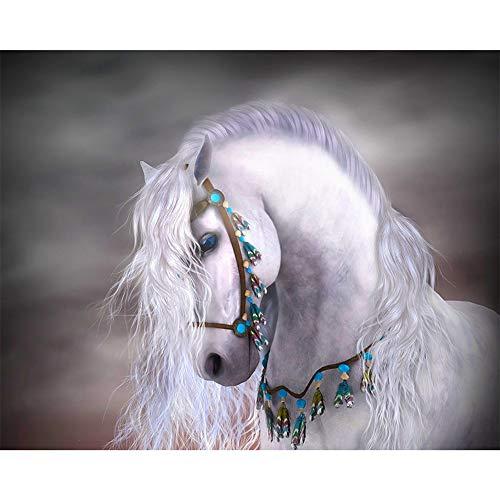 New 5D Diamond Painting Cross Stitch Melancholy White Horse Crystal Needlework Drill Mosaic Full Diamond Decor -