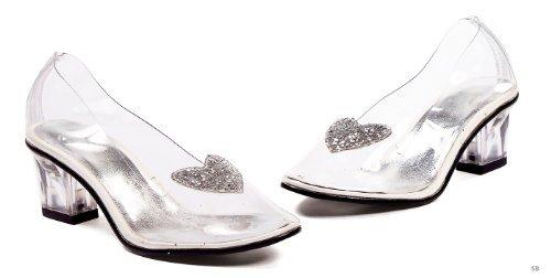 """ELLIE 201-ARIEL 2"""" Heel Clear with Silver Glitter Heart Slip"""