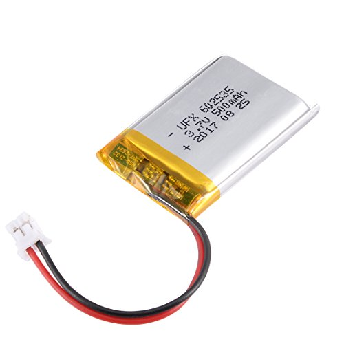 Polymer Lithium Ion Battery (uxcell Power Supply DC 3.7V 500mAh 602535 Li-ion Rechargeable Lithium Polymer Li-Po Battery)