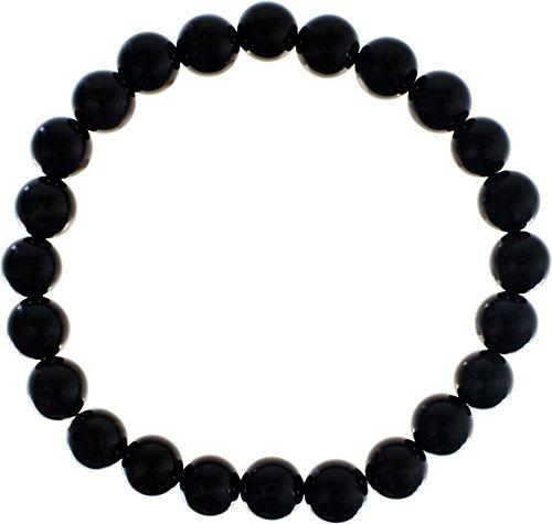 Black Obsidian Bracelet - Elastic Bracelet 8mm Round Beads - Black Obsidian