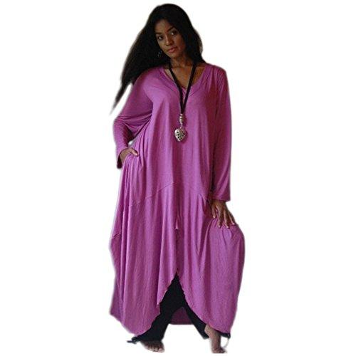 Lotustraders -  Vestito  - con orlo a palloncino - Basic - Maniche lunghe  - Donna Purple Medium