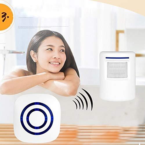 Surenhap Wireless Doorbell Alarme de sécurité pour la Maison avec détecteur de Mouvement avec 38 sonneries (1 * capteurs + 1 * récepteur)