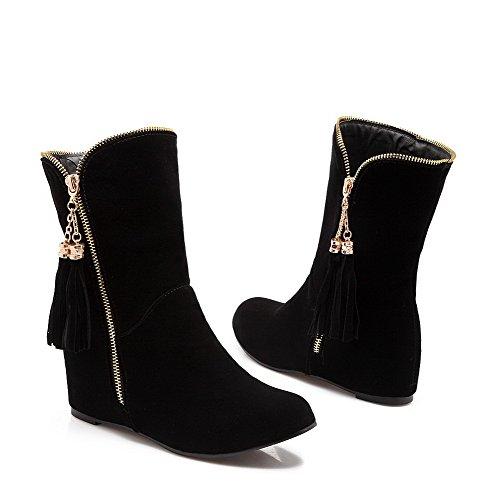 Botas bajo ante con sólida cremallera alta Negro con de tacón AgooLar de gamuza imitación para mujer de qdInx8Cggt