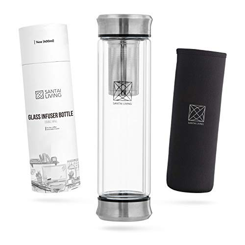 Botella de Agua termica infusor el + Filtro Colador para te infusiones + Inserto da Fruta sin BPA | Termo hermetico 550ml de Acero Inoxidable | Cantimplora aislada para Oficina, Colegio, Depo
