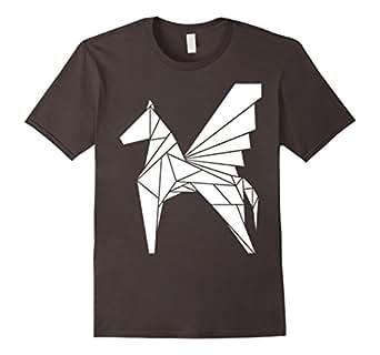 Mens Pegasus Horse White Origami Style 2XL Asphalt