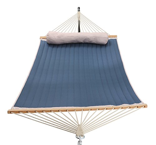 Patio Watcher 11 Feet Quilted Fabric Hammock Pillow, Double Hammock Bamboo Wood Spreader Bars, Perfect Outdoor Patio Yard, Dark Blue by Patio Watcher