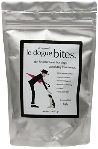 Dr. Harvey's Le Dogue Bites Freeze Dried Single Ingredient Treats for Dogs, Fish, 2-Ounce Bag