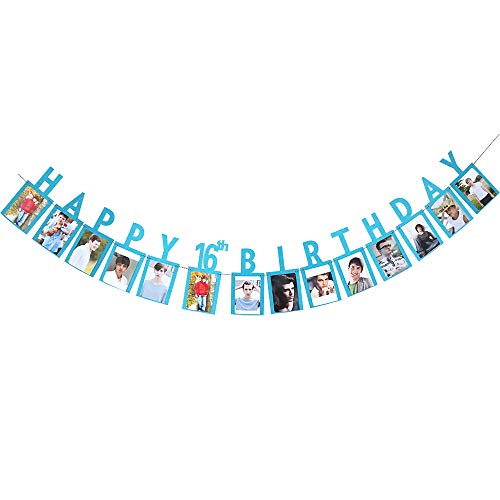 Happy 16th Birthday Sweet Sixteen 16 Years Photo Banner Blue Foiled for 16th Birthday Decoration Picture -