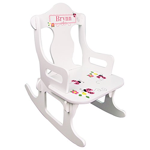 - Personalized Child's Train Pink Ladybug Rocking Chair