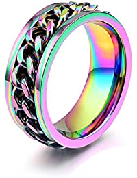 8mm Titanium Steel Rainbow Spinner Cuban Link Chain Lucky Ring for Men Women Wedding Ring