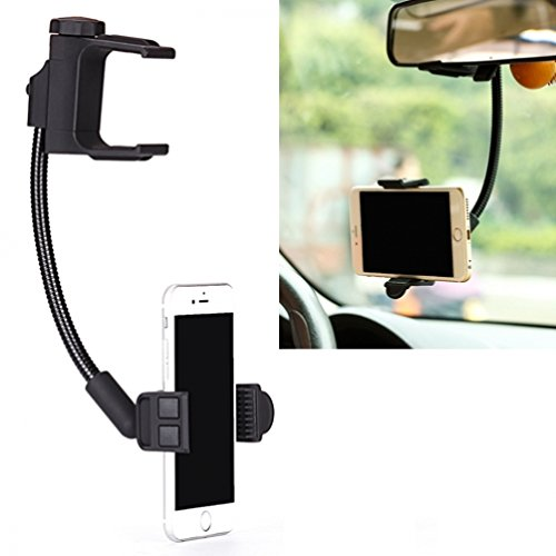 Rear View Mirror Arm (Rear View Mirror Car Mount Phone Holder Dock for iPhone 6 6S, Plus, 5S 5C 5 - Samsung Galaxy S7, S6, Edge, Edge+, S5, S4, S3, Active - Galaxy Note 5 4 3 2 Edge - LG G2 G3 G4 V10 K7 - Droid Turbo 2)