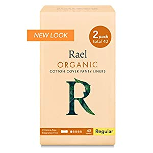 Rael Certified Organic Cotton Panty Liners, Regular - 2Pack/40 total - Unscented Pantiliners - Natural Daily Pantyliners (2 Pack) ,6 Inch 79