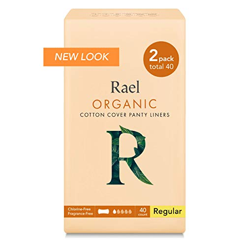 Rael Certified Organic Cotton Panty Liners, Regular - 2Pack/40 total - Unscented Pantiliners - Natural Daily Pantyliners (2 Pack) (Pantyliners Wings)