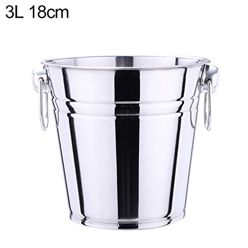 KKONION Stainless Steel Two Handles Ice Bucket Champagne Tub Liquor Barrel Container KTV, Club, Bar Supplies, 3L 5L