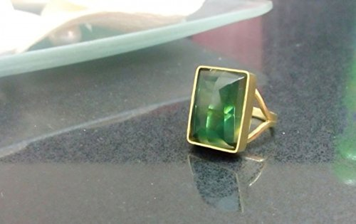 Green tourmaline ring, green gemstone ring,gold ring,rectangle ring,birthday gift,engagement ring ()