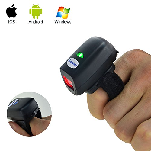 Posunitech Bluetooth Barcode Scanner, 2D Wearable Ring Scanner FS03 Smallest Finger Bar Code Reader Support IOS Android Windows and Mac