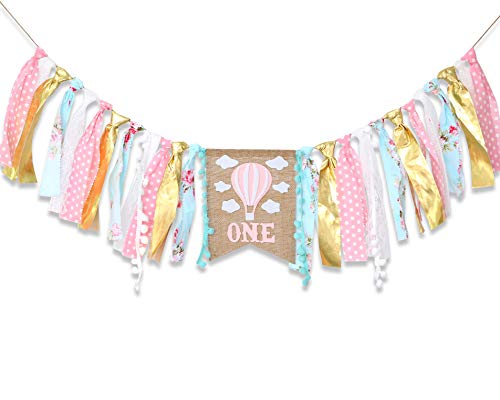 Hot Air Balloon Banner for 1st Birthday - Cake Smash Photo Prop for High Chair,Party Decoration for First Baby Birthday,Birthday Souvenir for Baby Girl(Pink Golden) (Best Place For 1st Birthday Party)