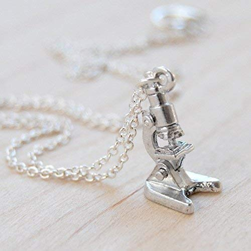 Enchanted Leaves - Tiny Silver Microscope Necklace - Cute Laboratory Microscope Charm Necklace