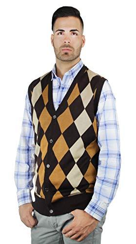 Blue Ocean Argyle Button-Down Sweater - Argyle Vest Down Button Mens