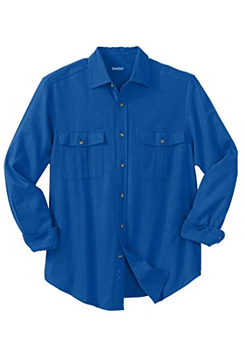 Tall Solid Double-Brushed Flannel Shirt, Royal Blue Big-XL ()
