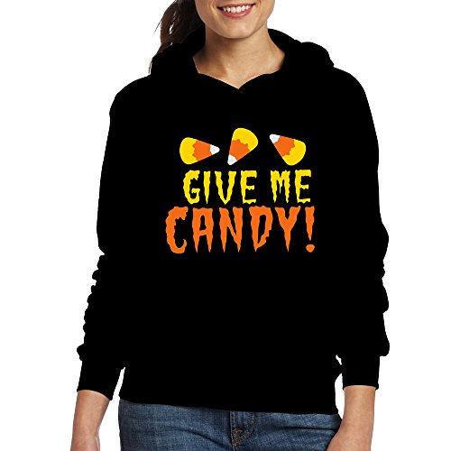 Jozie Women's Hoodies GIVE ME CANDY! HALLOWEEN Candy Corn Design Size XL Black