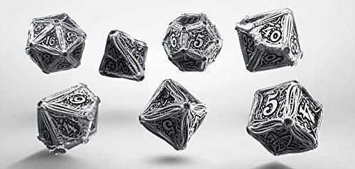 Q Workshop Metal Call of Cthulhu RPG Dice Set 7 Polyhedral Pieces by Q WORKSHOP