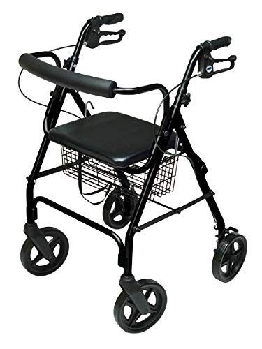 Lumex Aluminum Rollator with Curved Back Wheels, 8 Inches, Black RJ4805K