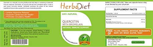 Quercetin with Bromelain Vcaps 500mg Vegetarian Capsules Immune Cardio Support (2 Capsules)