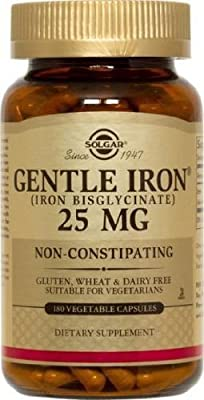 Solgar - Gentle Iron 25 mg Vegetable Capsules 180 Count Easy on Stomach, Promote Red Blood Cell Production.