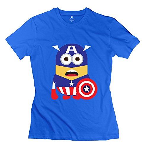 StaBe Female Captain America Minions T-Shirt 100% Cotton Swag M RoyalBlue