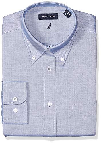 Classic Denim Dress Shirt - Nautica Men's Classic Fit Button Down Collar Dress Shirt, Denim Solid, 15 34/35