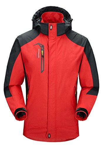 Cloudy Men's Spring Waterproof Front-Zip Hooded Rain Jacket(Red,US L/Asian4XL)