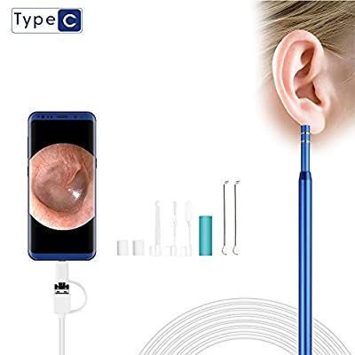 Ear Otoscope, SEEKONE 1.3 Megapixels 3 In 1 Ear Cleaning endoscope Camera Borescope Visual Earpick Tool with 6 LEDs for Micro USB, Type-C Android Phone, Windows, PC–(6.5ft, Not for IPHONE)