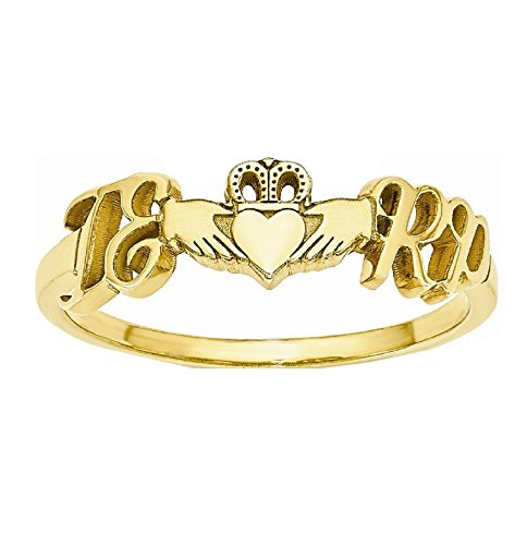 Roy Rose Jewelry 10K Yellow Gold Heart Claddagh Couple's Initial Personalized Custom Love Romance Ring - Size 9 by Roy Rose Jewelry