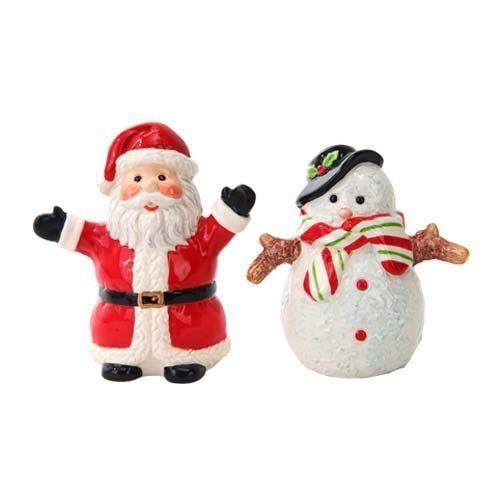 Attractives Christmas Santa & Snowman North Pole Winter Ceramic Magnetic Salt Pepper Shakers - Ceramic Snowman