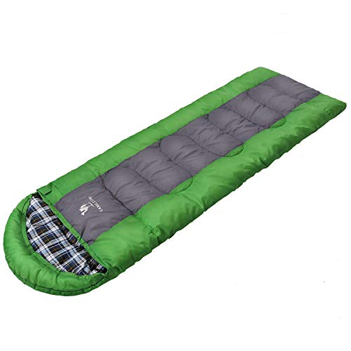 CAMEL CROWN Sleeping Bag Envelope Lightweight Portable Camping Sleeping Bags 4 Season with Compression Sack for Traveling Hiking Backpacking Outdoor Green/Grey
