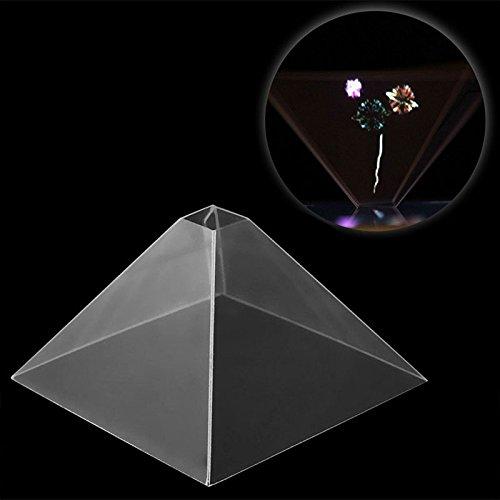 vid/éo de projecteur de pyramide daffichage holographique 3D pour le t/él/éphone intelligent mobile Cewaal Projecteur dhologramme de Smartphone