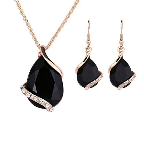 Ezing Women Crystal Pendant Gold Plated Chain Necklace Earring Jewelry Set (black)
