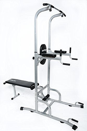 Ader Adjustable Muti-Function VKR Power Tower Chin/Dip Ab Station w/Sit Up Bench for Home Fitness